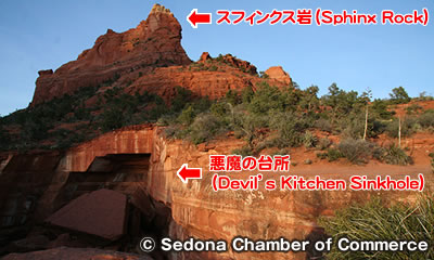 Devil's Kitchen Sinkhole と Sphinx Rock