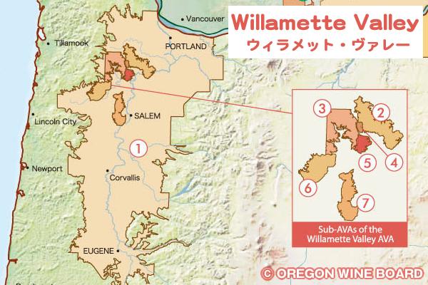 ウィラメット・ヴァレーの地図