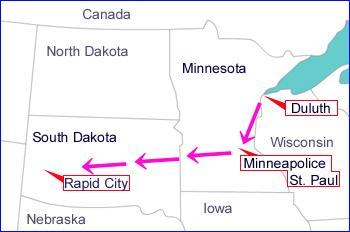 ダルースから、一路サウスダコタ州を目指します