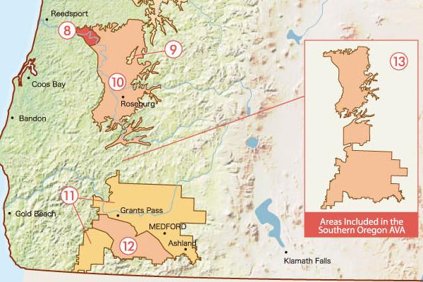 オレゴン南部のAVA(アメリカ葡萄栽培地域)の地図